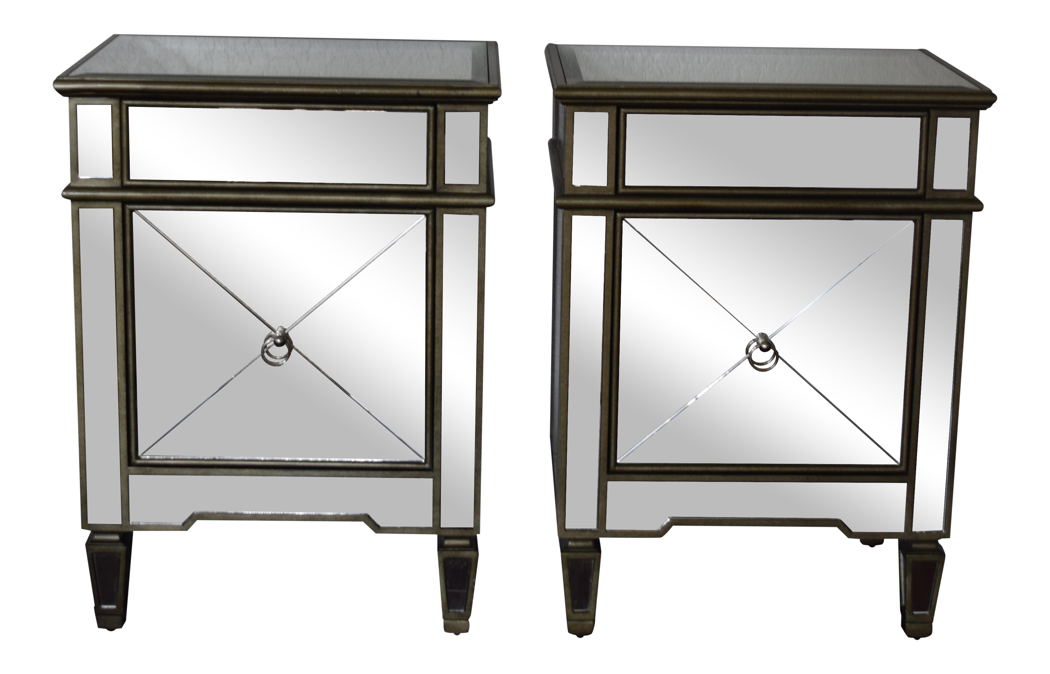 hollywood regency mirrored furniture. Hollywood Regency Mirrored Nightstands - A Pair On Chairish.com Furniture