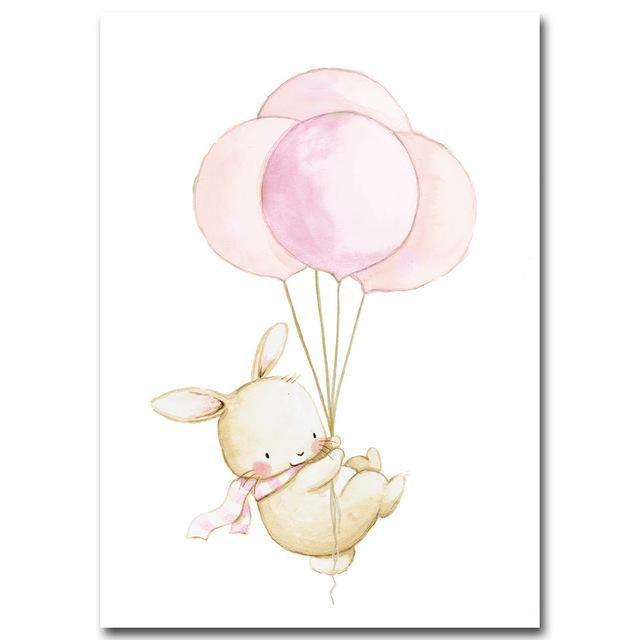 Poster Toile Lapin Ballon Decoration Tableau Imprime Sur Toile