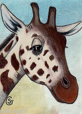 Nfac Giraffe Watercolor Art ACEO Original Smile Smiling Nibblefest Goeben   eBay