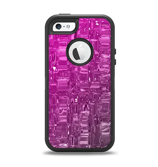 The Hot Pink Mercury Apple iPhone 5-5s Otterbox Defender Case Skin Set