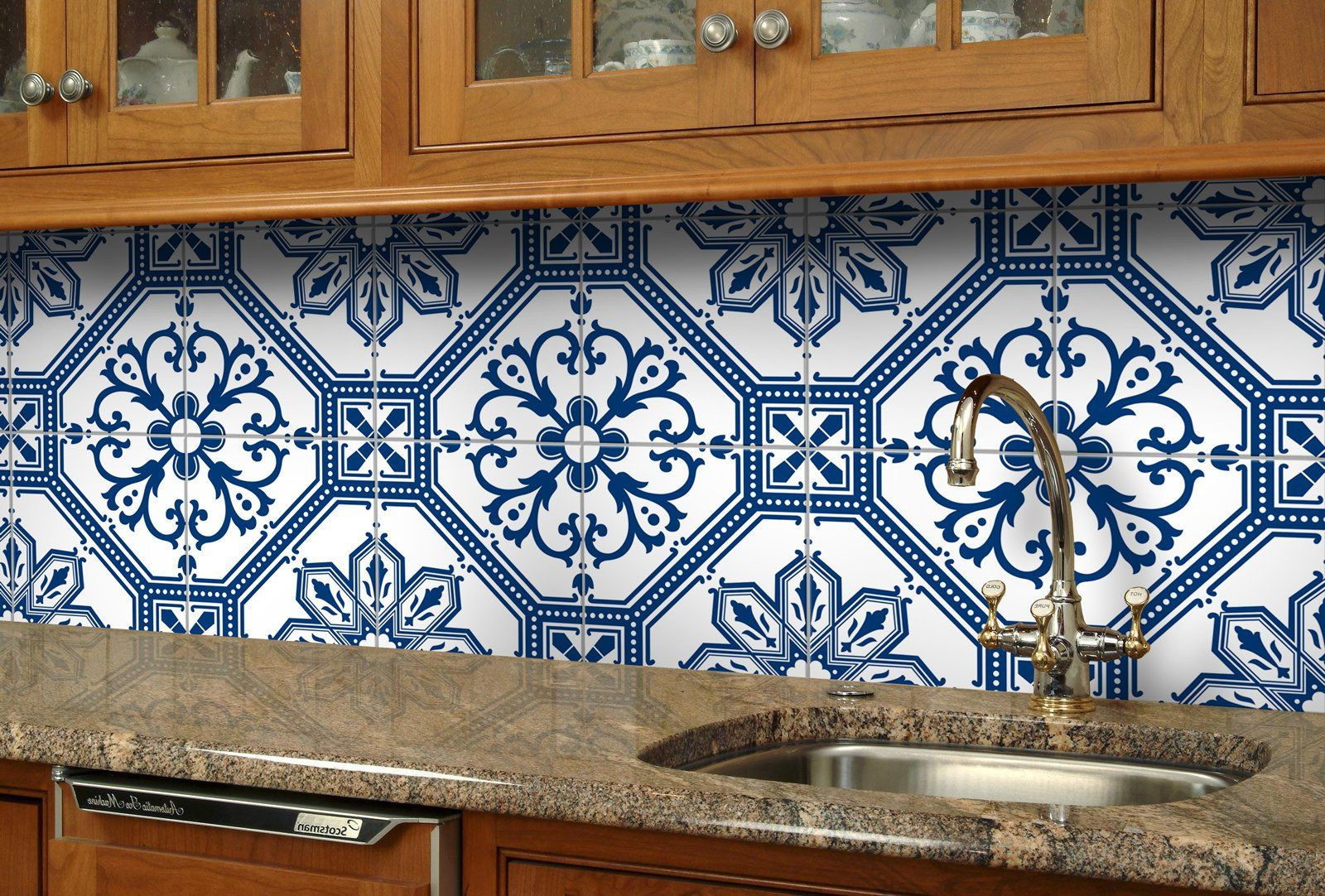 Tile Stickers Tile Decals For Kitchen Bathroom Wall Or Backsplash Waterproof And R Diy Kitchen Backsplash Blue Tile Backsplash Backsplash For White Cabinets