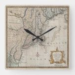 Vintage Northeastern U.S. Map Square Wall Clock#vintage #maps #travel #charts #gifts