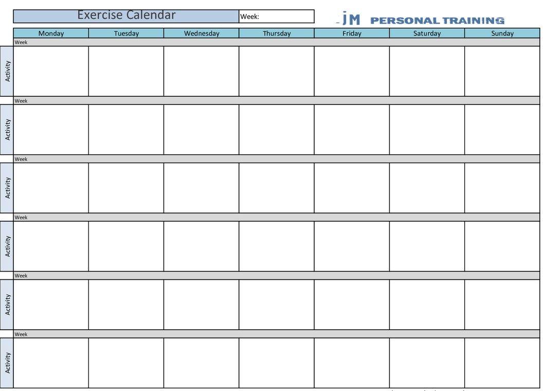 Printable Exercise Calendar  Calendar    Exercise Calendar