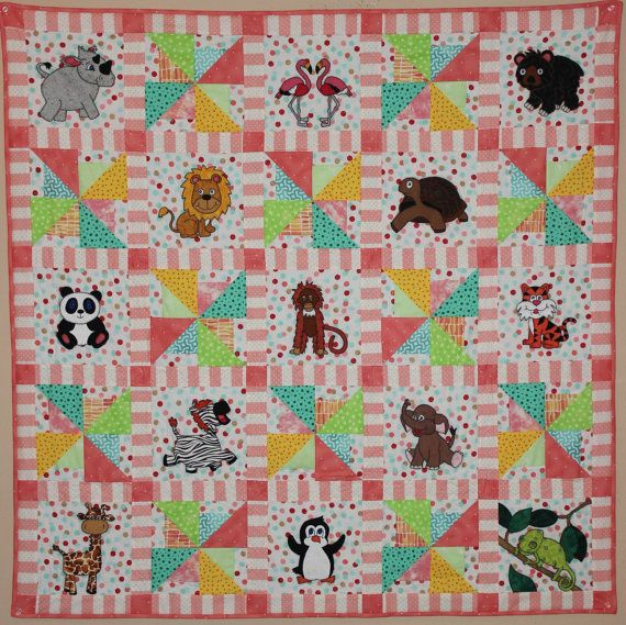 Zoo Animal Applique Pdf Baby Quilt Pattern Whimsical