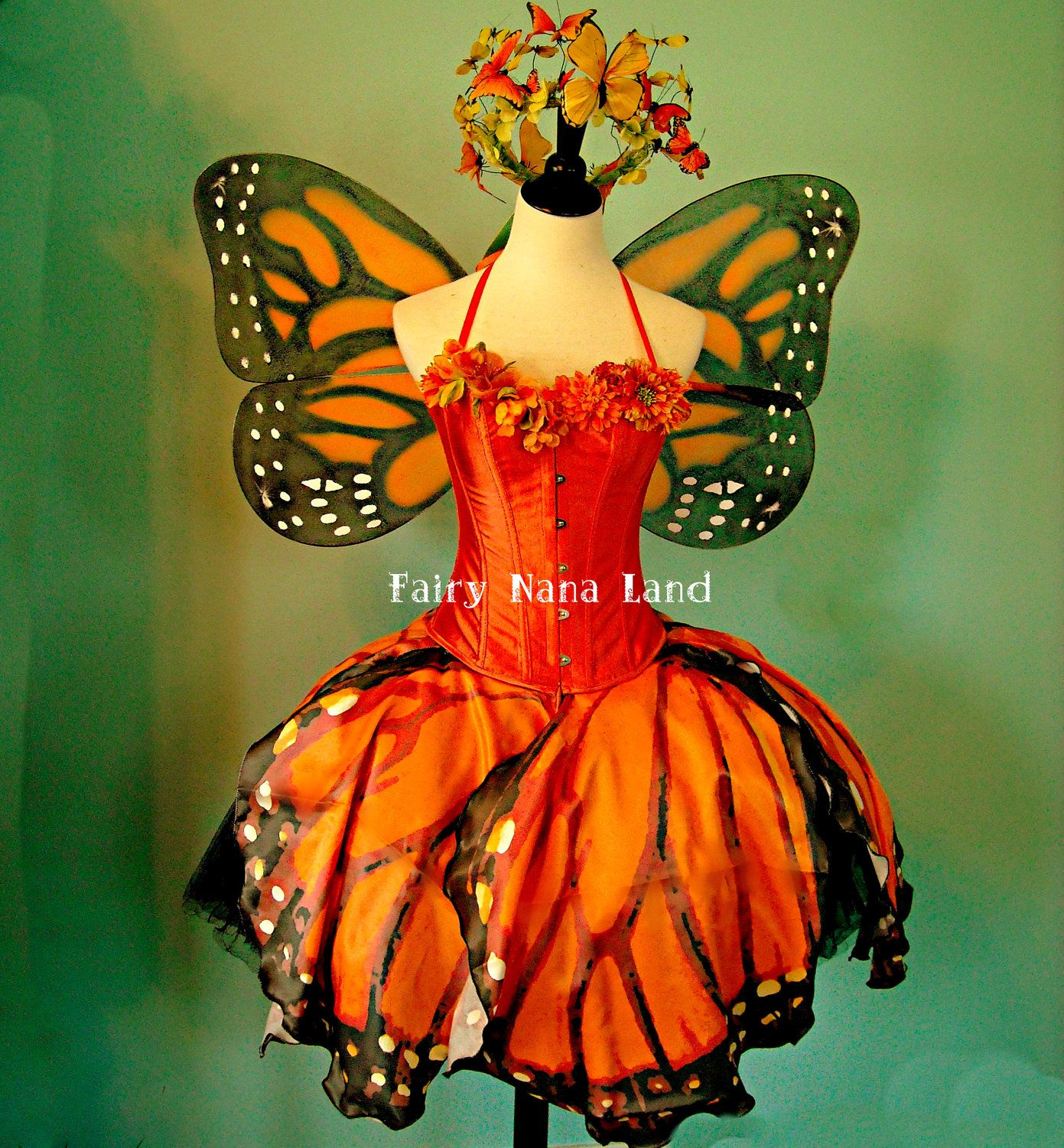 SPRING SALE - Monarch Butterfly Faerie Costume - adult size small - Corset - Butterfly Skirt - Tutu - Wings - Crown via Etsy & So pretty! | Holiday Awesomeness | Pinterest | Head piece Butterfly ...