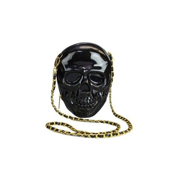 Loungefly Black 3-D Molded Skull Crossbody Bag With Chain ($44) ❤ liked on Polyvore featuring bags, handbags, shoulder bags, loungefly handbags, chain purse, cross body, chain handbags and crossbody shoulder bags