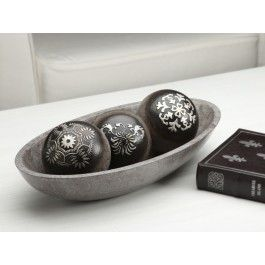"""Black Decorative Bowls Orb Set Comes With A 15"""" Oval Bowl And 3 Decorative Orbs  This"""