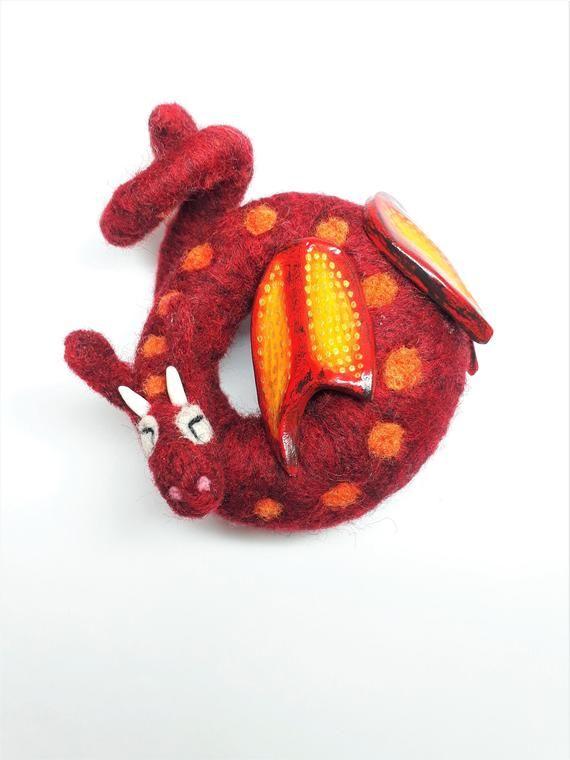 Red Dragon/ Sleeping Dragon/ Soft Dragon/ Needle Felt Dragon/ Needle Felted Animal/ Ooak Dragon/ Dragon Gift/ Small Red Dragon/ Wool Dragon