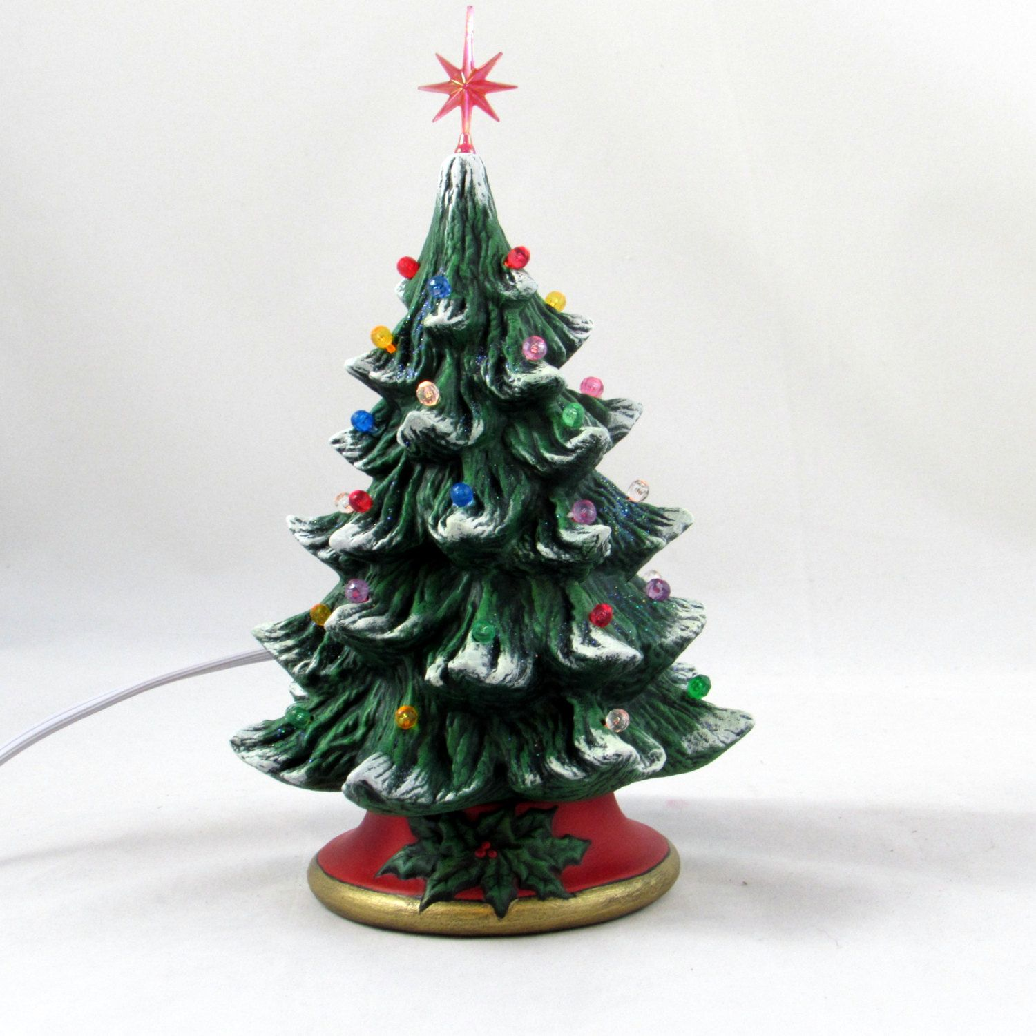 Small Ceramic Christmas Tree - 7 inches with base-hand ...