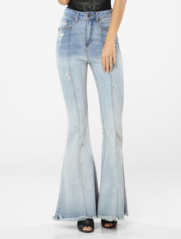 16093b8e7 Calça Jeans John John High Super Flare Jeans Claro - Glamour ...