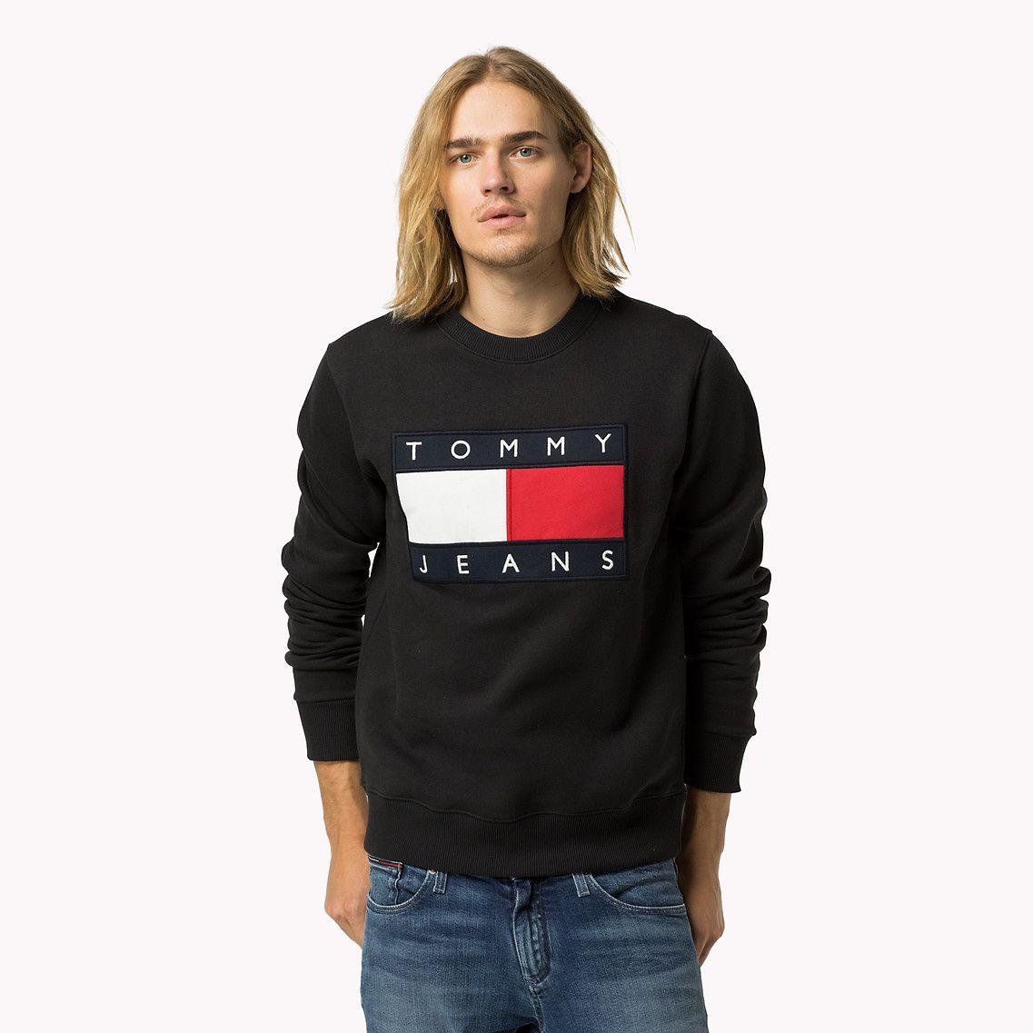 Cotton Fleece Logo Sweatshirt Black Tommy Hilfiger 8719253944703 Sweatshirts Tommy Hilfiger Tommy Hilfiger Fashion