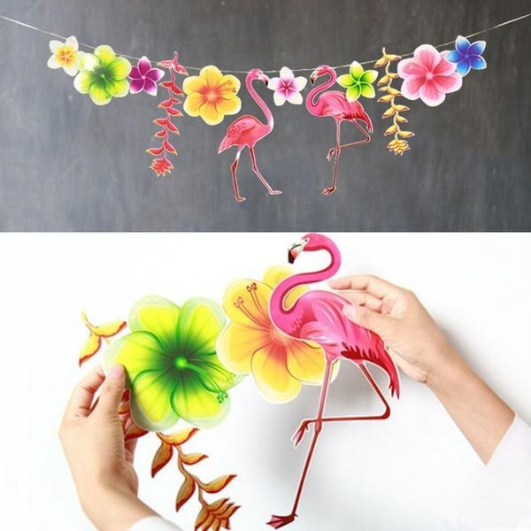 Party Decoration Flamingo Garland Hawaiian Luau Tropical Happy Birthday Banner Party Supplies #hawaiianluauparty