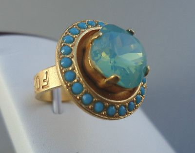 CATHERINE POPESCO BEAUTIFUL Pacific Opal with Turquoise Crystals Gold Ring Sz 8 on eBay!
