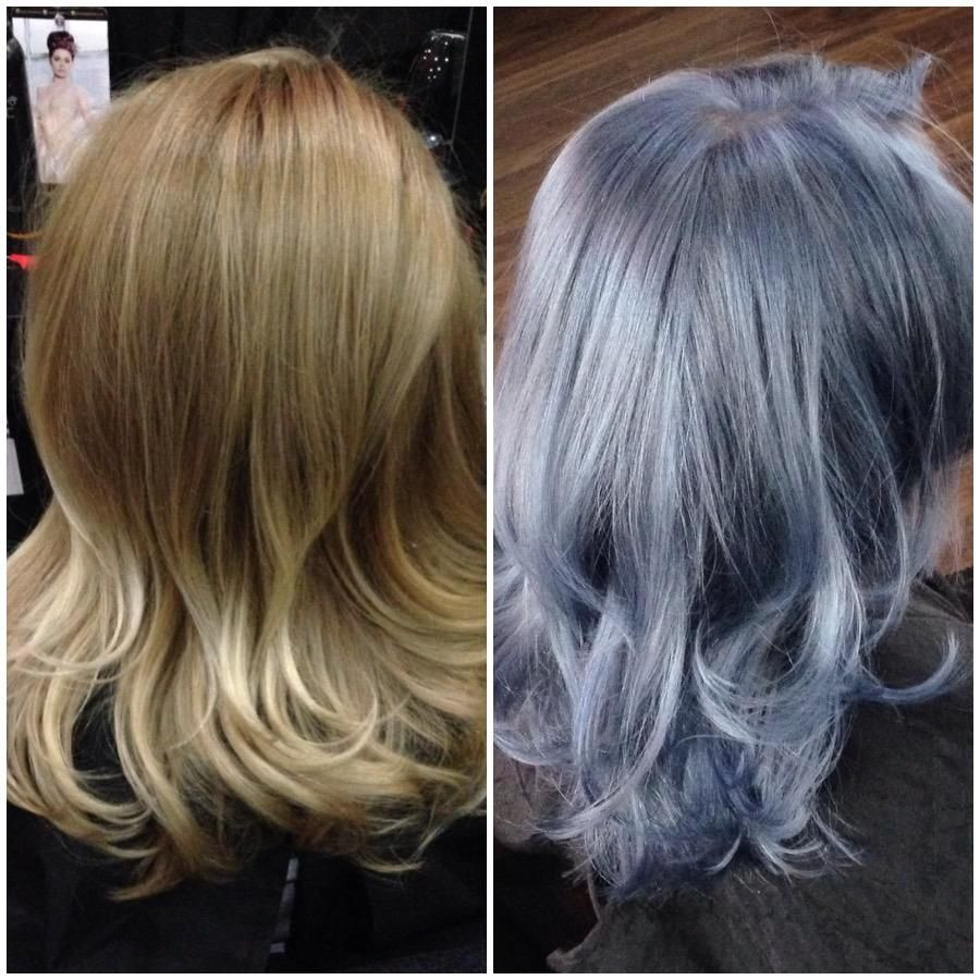 Formula From Pretty Blonde To Blue Slate Silvery Blue Hair Blue Steel Hair Hair Color
