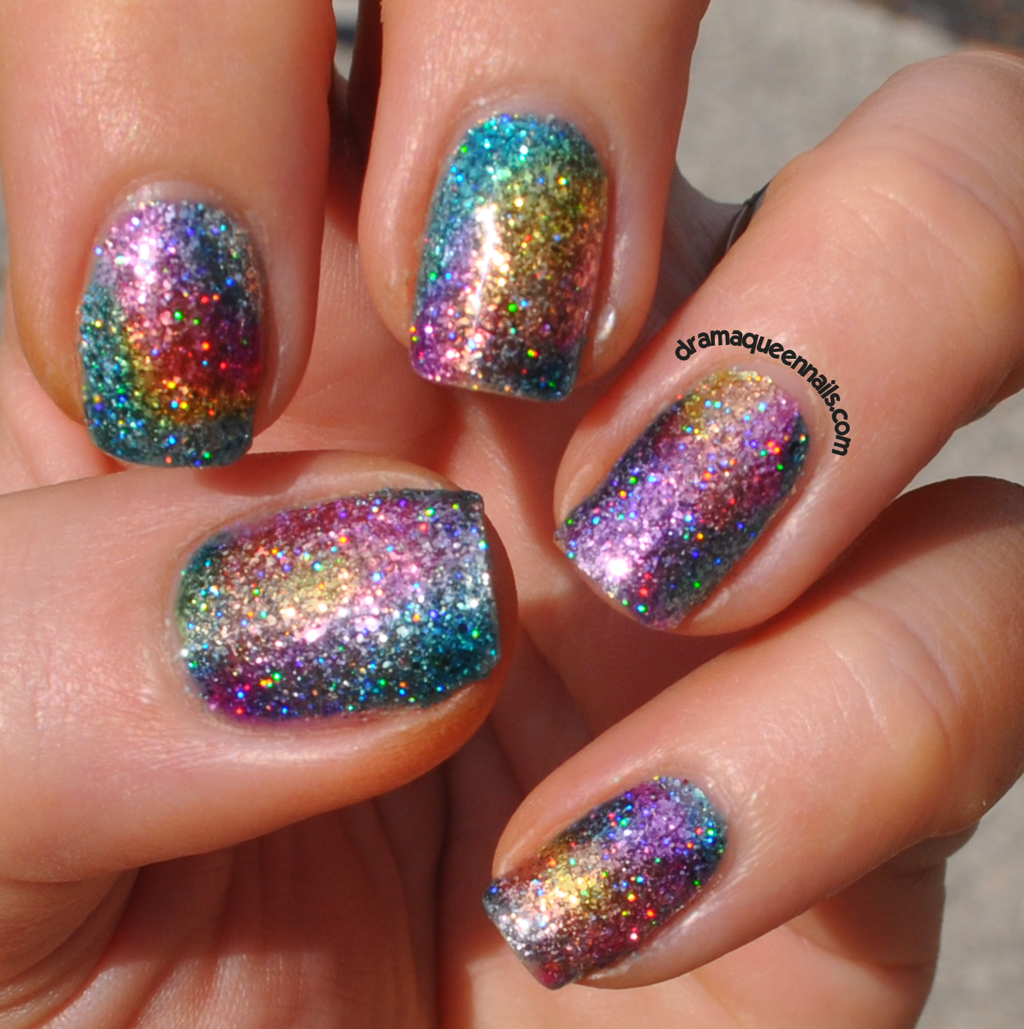 Drama Queen Nails Rainbow Sparkle With Fun Lacquer