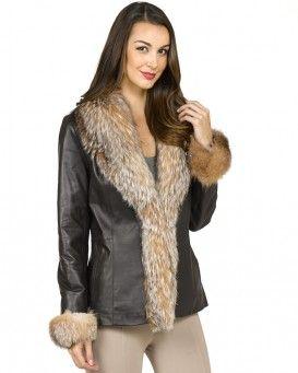 Khloe Lamb Leather Jacket with Crystal Fox Fur