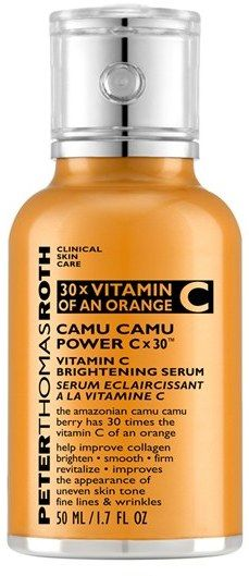 Peter Thomas Roth 'Camu Camu Power Cx30' Vitamin C Brightening Serum A vitamin C-powered serum that helps brighten, even and firm the skin. The Camu Camu berry provides 30 times more vitamin C per ounce than an average orange. The highly concentrated vitamin C has superior absorption properties due to its low molecular weight allowing it to better penetrate the skin, help improve collagen production, brighten, smooth, firm and improve the appearance of uneven skin tone, fine lines and…