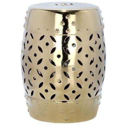 Safavieh Lattice Coin Gold Ceramic Patio Stool