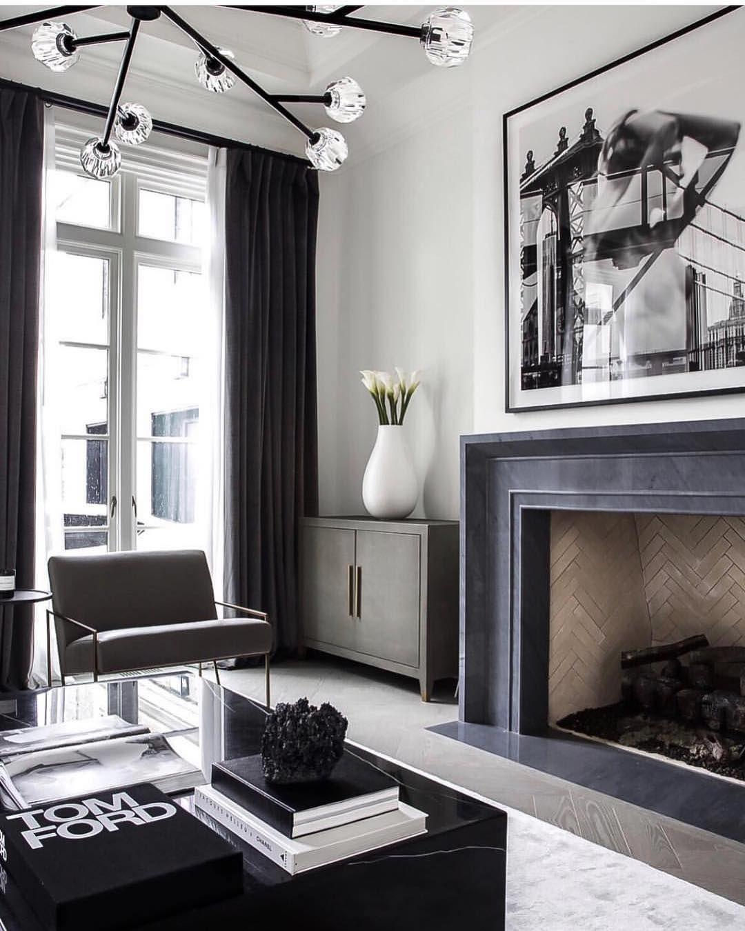 "99 Beautiful White And Grey Living Room Interior: Ashley Stark Kenner On Instagram: ""Loving The Black White"