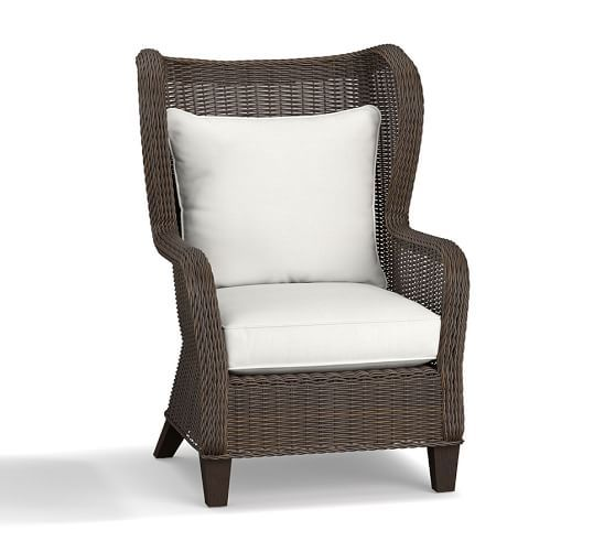 Torrey All Weather Wicker Wingback Chair  Espresso | Pottery Barn