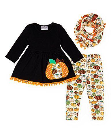 Angeline Kids Boutique Clothing Girls Halloween Pumpkin Patch Scarf Set