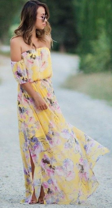 #summer #boho #chic #style | Floral OTS Maxi Dress