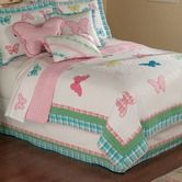 "My World""Plaid Butterfly Garden Twin Quilt with Pillow Sham"