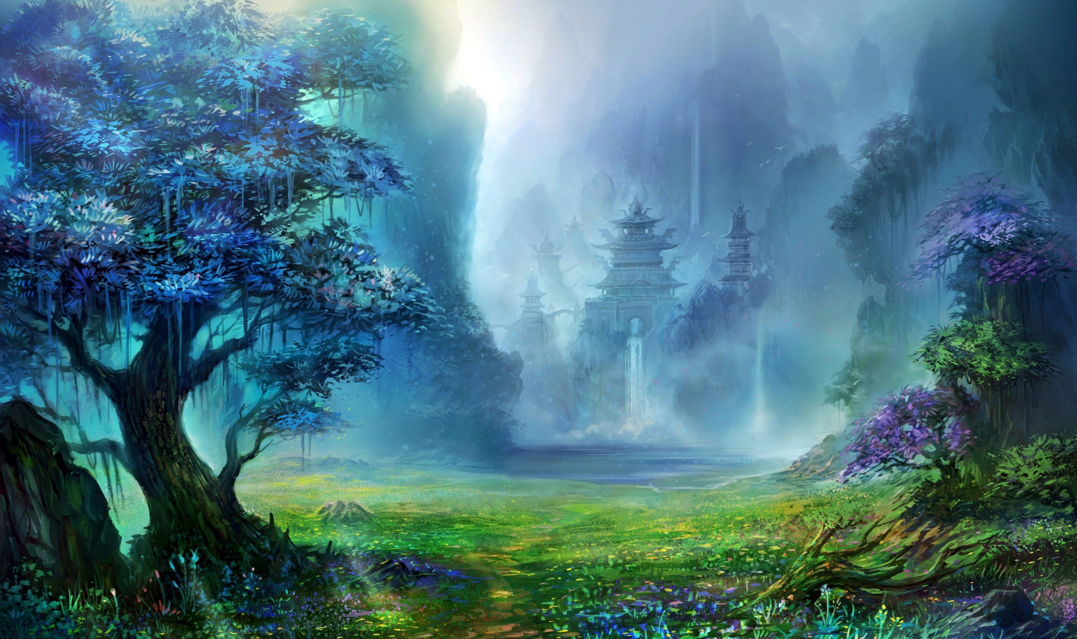Pin By Rezo Chkhikvadze On Art Creative Design Fantasy Landscape Waterfall Artwork Castle Painting
