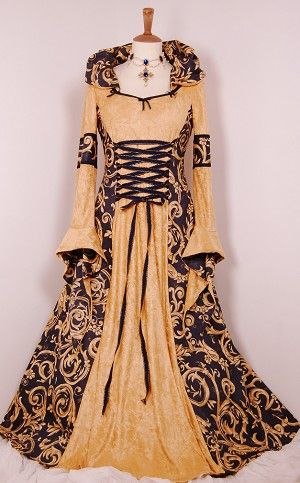 e7d768e12b5 Cream Velvet medieval dress with Green Braid
