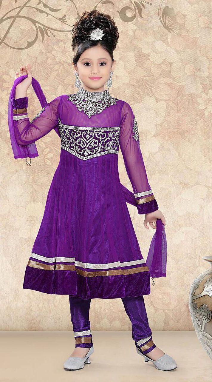 Fantastic Purple Net Readymade Kids Long Anarkali Suit | marej dot ...