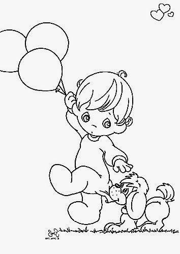 desenho de menino do preciosos momentos com balões e cachorrinho ...