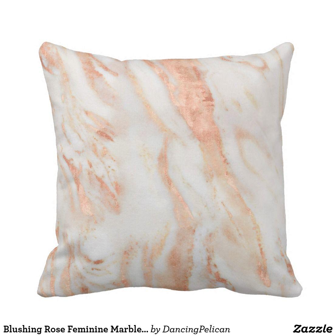 Blushing Rose Feminine Marble Pattern Throw Pillow  c6a5251e2b