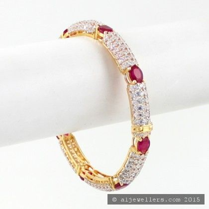 22ct Gold Ruby KaraBangle ROYAL COLLECTION 1 Red Green Bridal