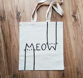 MEOW TOTE BAG bolsa de gato amante de gato regalos de gato dama de gato bolso personaliz MIAU bolso de yute pintado a mano bolso de mano de miskabags en Etsy