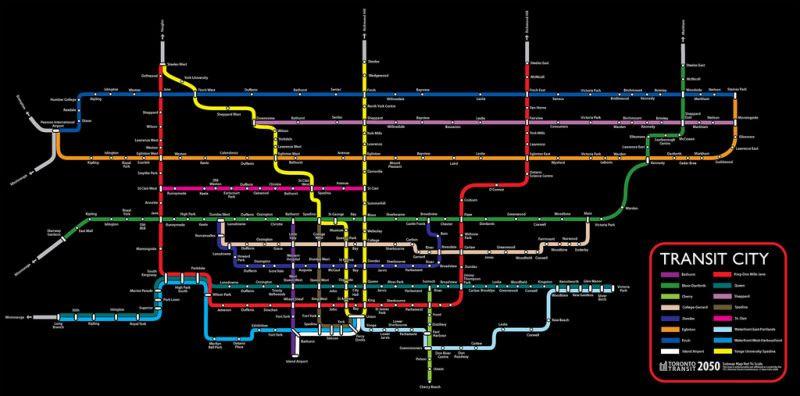 Subway Map Ttc.Ryan Felix Vision Of 2050 Ttc Subway Map Art Fantasy Map Map