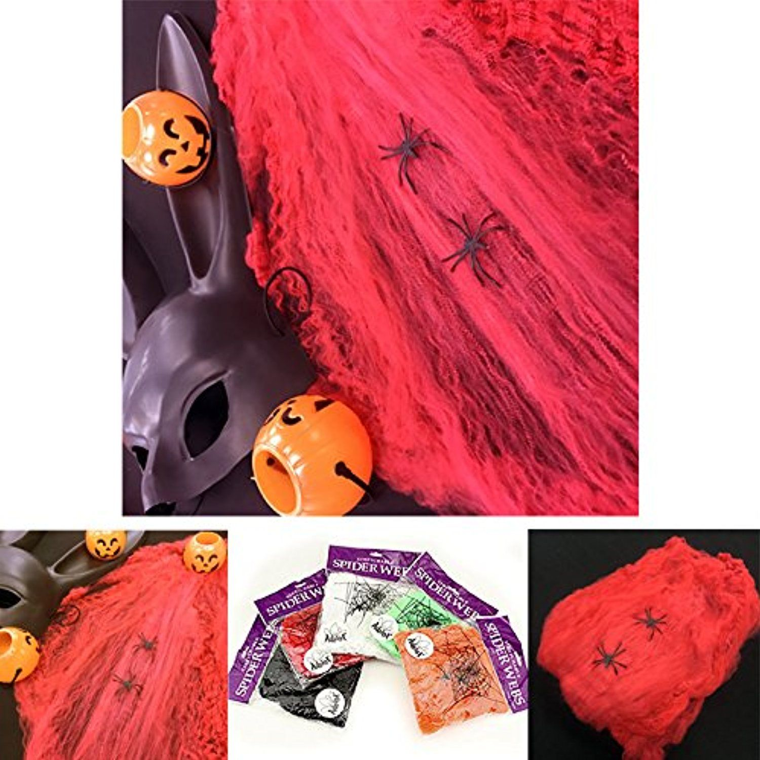 Adorox (2, Red) Spooky Halloween Scary Stretch Spider Web Webbing - Halloween House Decoration