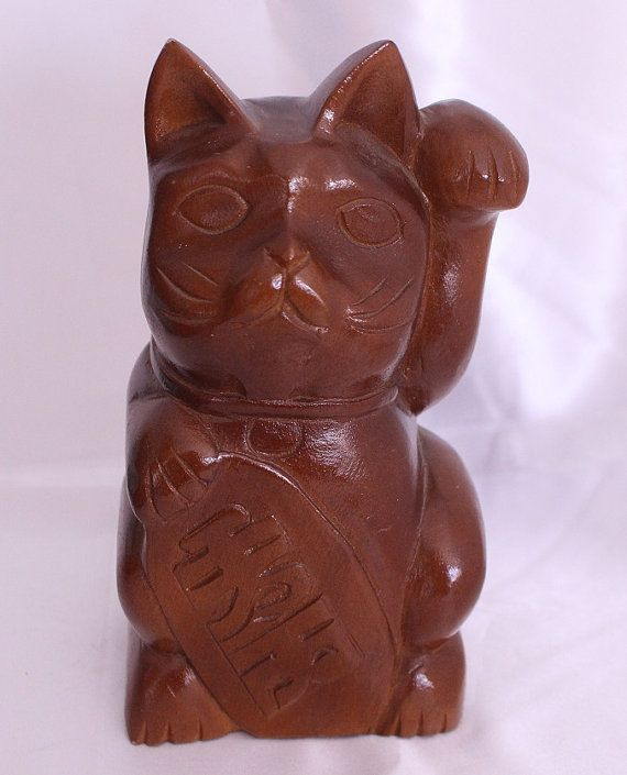 Beautiful Wood Maneki Neko Lucky Cat Tall Glazed by TwoCatsVintage