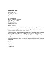 Interview Decline Letter Example of a letter sent via email to