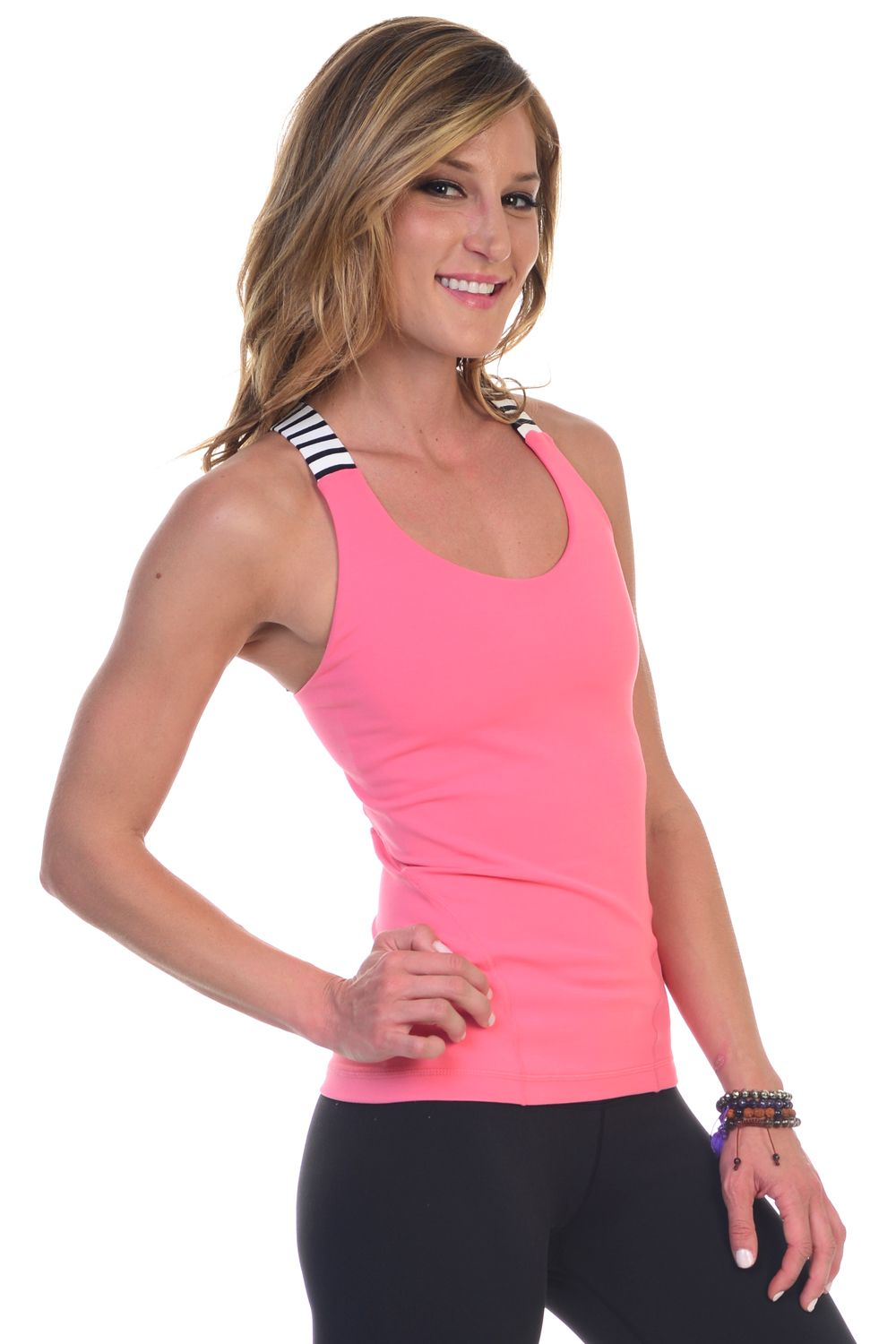 Sweat It Out: Guava with Black and White Stripe Straps