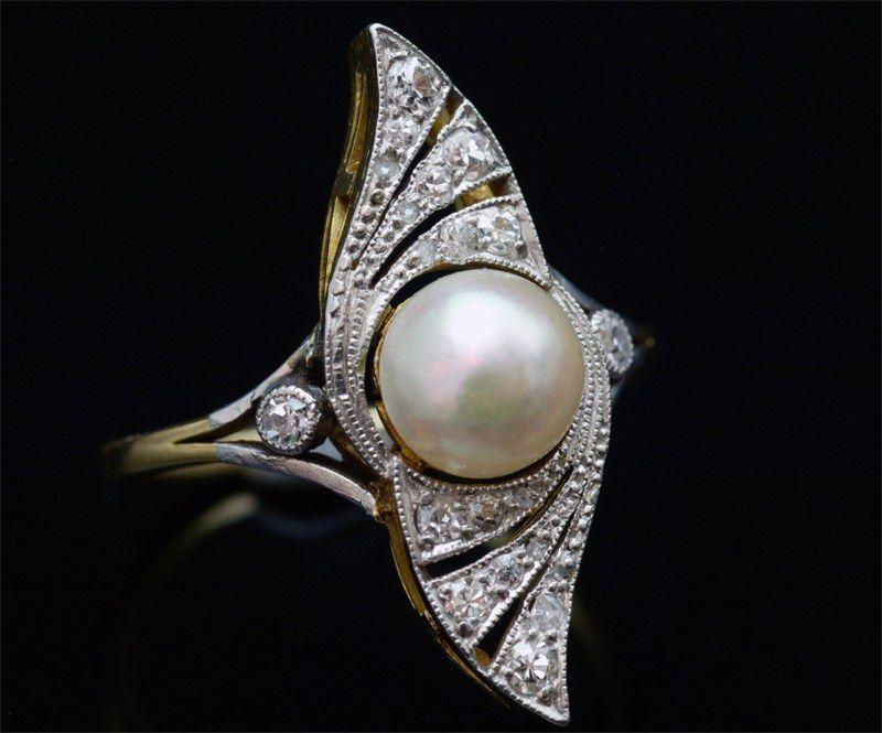 bague perle fine diamant