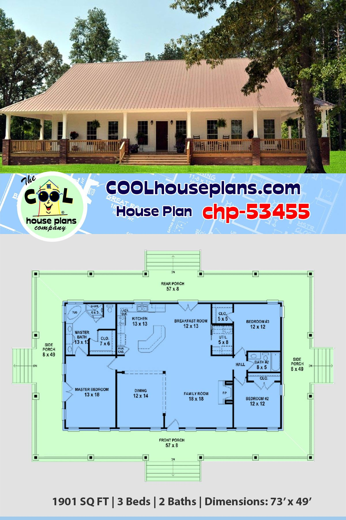 Southern Style House Plan 46666 With 3 Bed 2 Bath Lowcountry House Plans Porch House Plans House Plans Farmhouse