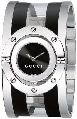f527d67a0 Gucci Women's YA112414 Twirl Medium Black and Transparent Acetate Bangle  Watch
