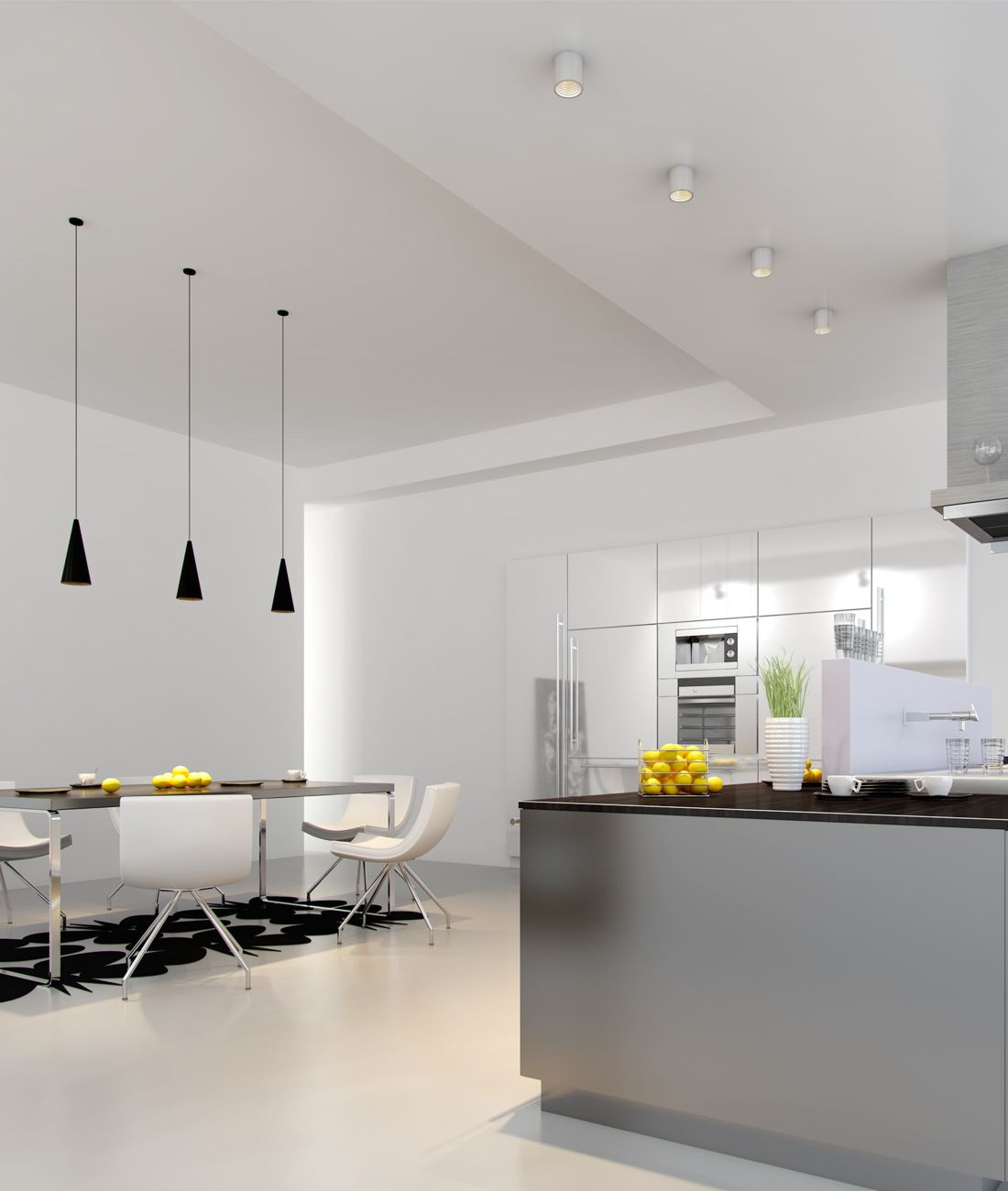 Surface mount light L600 and pendant light P97L in kitchen applicati ...
