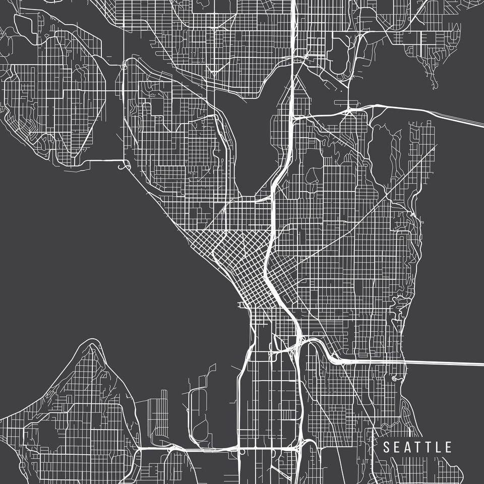Buy Seattle Map USA Washington Dark Gray by Main Street Maps as a