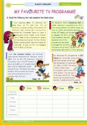 English Worksheet My Favourite Tv Programme Reading Comprehension
