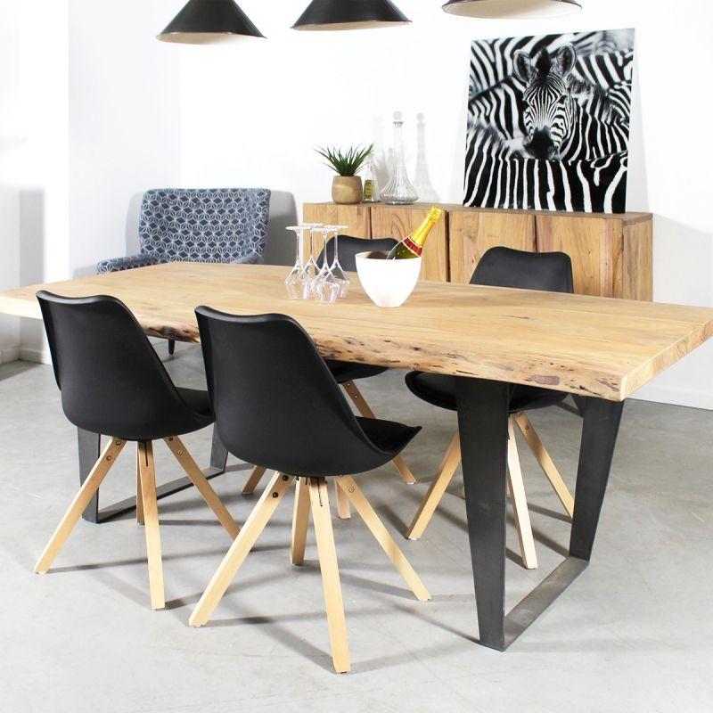 table à manger bois massif tronc d'arbre, pieds métal | tronc