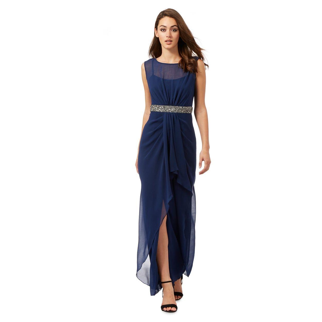 1ca3bcb4fdb Lipsy Navy studded maxi dress-