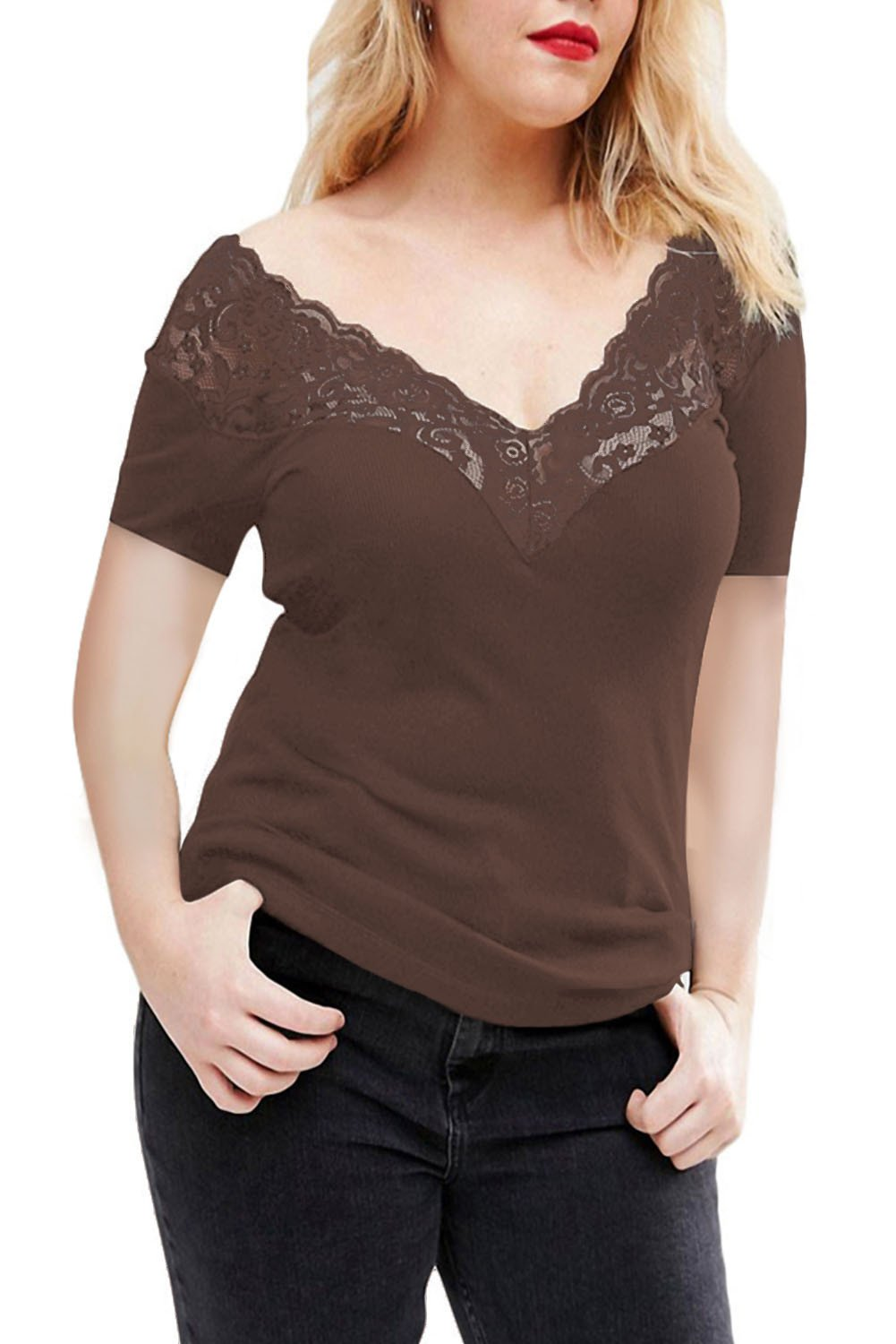 99655bcbffee Chicloth Coffee Off Shoulder V Lace Neckline Spliced Short Sleeve Top