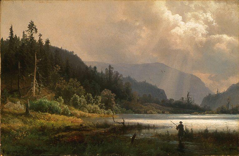 Herman Herzog 1832 1932 Man Hunting Western Landscape