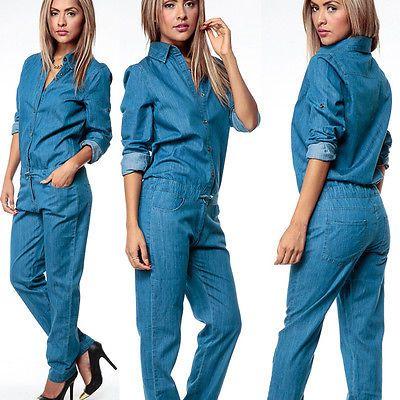 Verwonderlijk Vrouwen Mode Denim Jeans Lange Mouwen Overalls Bandjes Jumpsuit AP-47